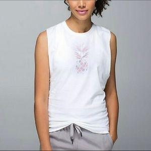 Lululemon White Pineapple Muscle Tee Shirt